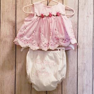 Rare Editions Dress Top & mismatch bloomers 6m